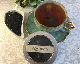 Chippy Mint Loose Leaf Black Tea with Chocolate and Mint 1 oz in Window Tin
