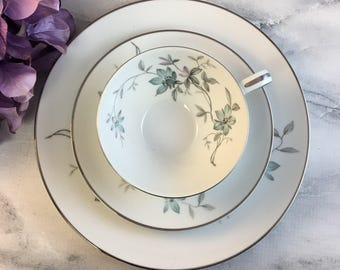 Noritake Lorene 5764 Tea Trio Vintage Blue Lavender Teacup Saucer Dessert Plate Set Japan Made Platinum Trim Floral Bouquets