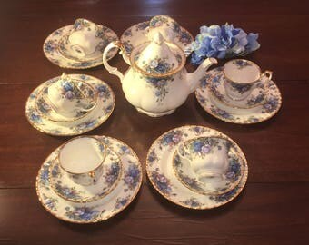 Moonlight Rose All England by Royal Albert Tea Luncheon Set for Six Excellent Vintage XL Teapot 20 Pieces Free Shipping in USA Blue Roses
