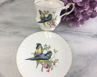 Sweet Love Birds Rosina Tea Cup and Saucer Fine Bone China Vintage England Made Lovely Finches