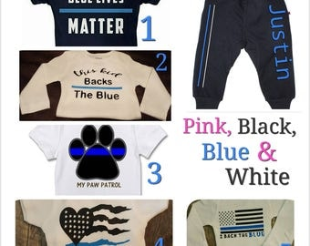 Back The Blue, Thin Blue Line, Unisex, Law Enforcement, Police Babies Onesie Set