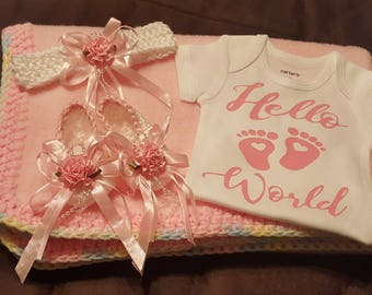 Hello World, Crochet and Fleece Blanket,  Headband, Booties  and Onesie Set ... Perfect Baby Shower Gift or Coming Home Outfit