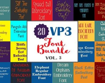 Machine Embroidery Fonts  - 20 VP3 Font Bundle - Volume 3 - 20 Husqvarna Viking