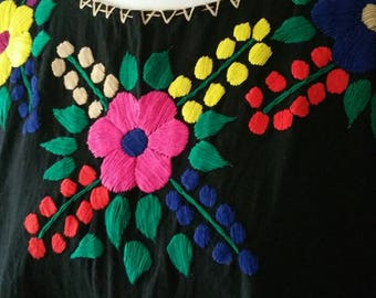 Black Mexican Handmade  Embroidered Blouse