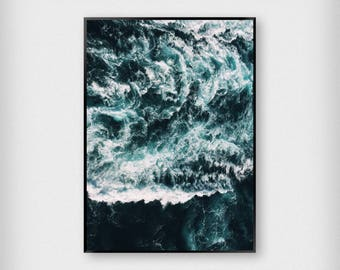 Green Waves Print | Nature | Green - Blue | Ocean - Sea - Poster