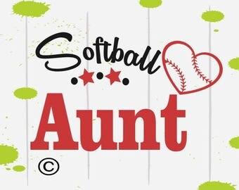 Softball svg, Baseball svg, Softball Aunt svg, baseball shirt SVG Files, Cricut, Cameo, Cut file, Files, Clipart, Svg, DXF, Png, Pdf, Eps