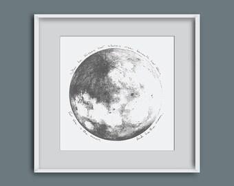 Picture of the moon, moon illustration, moon giclee print, moon wall art, lunar wall art, moon art, home decor, wedding present, moon quote