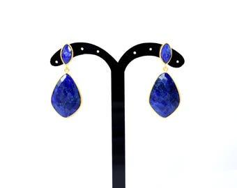 sapphire earring stud, natural stone stud, gemstone earring , anniversary gift,marquise  stud, birthstone stud, blue color stud,sapphire