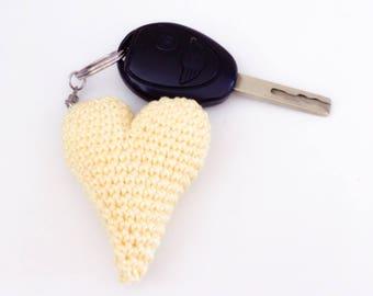 Hand crocheted heart Keyring