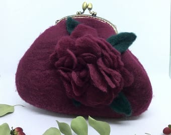 Wet Burgundy Felted Bag,Felt Purse,Burgundy Purse,Wool Purse,Hand Bag,Wool Clutch,Gift,Felt Bag,Wool Bag,Burgundy Bag,Burgundy Flower,Bag