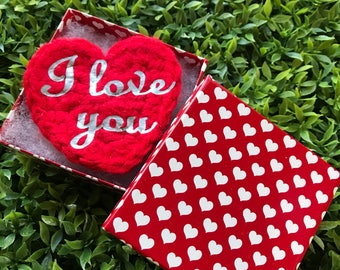 Hand crochet Valentines greetings