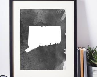 Home Decor, Wall Art, Watercolor, Connecticut Black and White Art Print, Connecticut Wall Decor, Digital Download, Modern Art