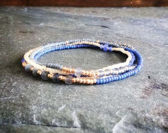 Stretch bracelet with labradorite and tanzanite,Delicate beaded necklace,Seed bead jewelry,Elastic multi wrap bracelet,long beaded necklace