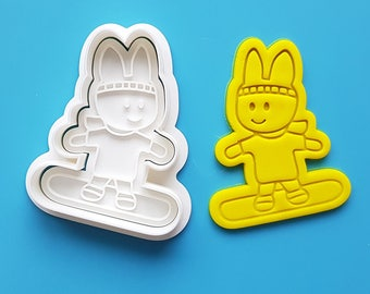 Bunny Snowboarding Cookie Cutter and Stamp