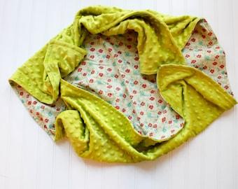 Floral Baby Blanket - Lime, red, teal