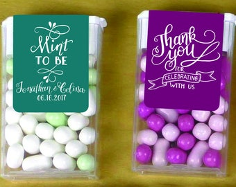 CUSTOM Tic Tac Labels Mint To Be- Printable Printed Wedding Favors label vibrant Calla - Custom Hand lettered - Many colors