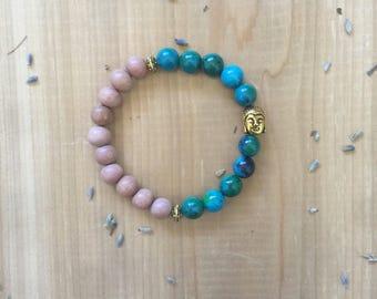 Mala Bead Bracelet | Chrysocolla Beads | Rosewood Beads | Gold Spacer Beads | Yoga Bracelet |  Mala Beads | Gold Buddha