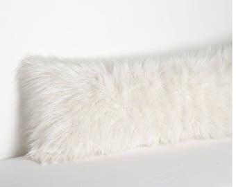 White faux fur body pillow
