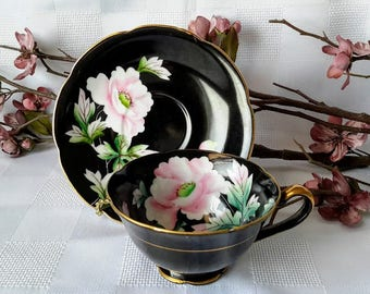 Chugai China Black Teacup and Saucer Set, Made in Occupied Japan