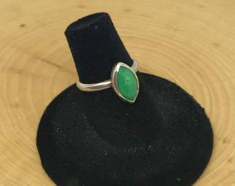 Faceted Chrysoprase Sterling Silver Ring