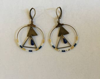 Earrings blue white and gold