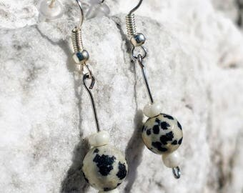 Dalmatian Stone Drop/Dangle Earrings