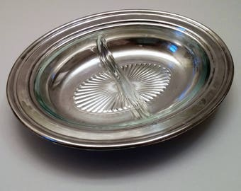 Sheridan Silver Plate Oval Divided Serving Dish - Glass Insert