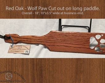 BDSM Long Wolf Paw Cut Spanking Paddle