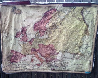 Europe map minky baby blanket - vintage map faux fur cuddle quilt - or shoulder blanket, wheelchair lap blanket - 30 by 41 inches