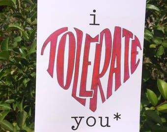 Funny Valentines Day Card I tolerate you