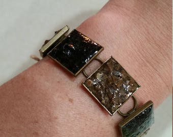 Black/Brown Rough Chip Inlay Square Bracelet