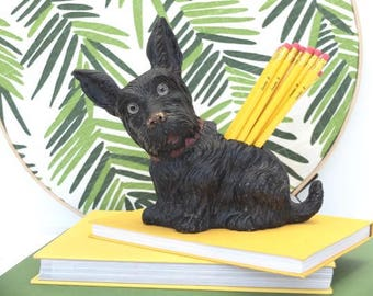 Vintage Scotty Dog Brush Valet Pencil Holder Desk Accessory