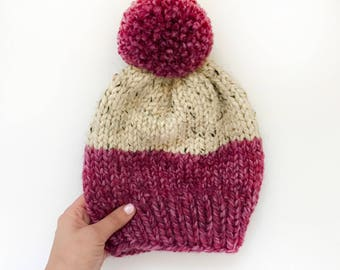 THE HAZEL HAT || Chunky Knit Hat || Strawberry and Oatmeal || Women's Knit Hat