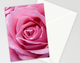 Pink Rose Stationary Set, Roses Note Cards, Pink Rose Card, Blank Pink Card, Romantic Stationary, Pink Roses Stationary,  Love Stationary,