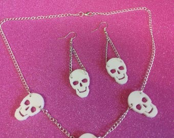 Skull jewellery set/ Halloween jewellery