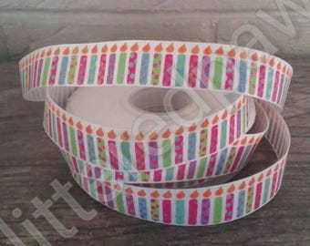 "7/8"" Birthday Candles on White Grosgrain Ribbon"
