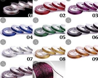 10m metallic jewelry cord in many colours ~ 0.8-1 mm / / jewelry cord / thread / stringing beads / necklace / cord