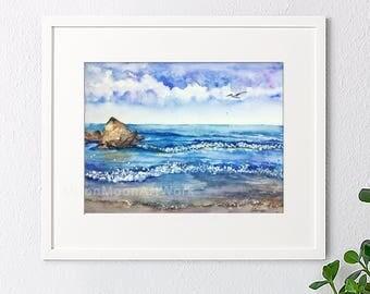 Original watercolor painting, Landscape painting,watercolor landscape,watercolor sea,handmade,abstract sea, blue sea,house gift