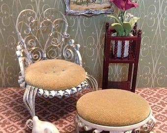 Vintage Miniature Victorian Style Chair and Ottoman -Tin Scrolled for the 1:12 Scale Dollhouse
