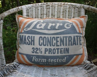 Vintage Feed Sack Pillow - Grain Sack - Larro