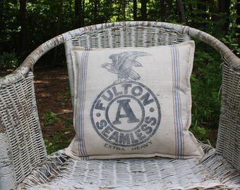 Vintage Grain Sack Pillow - Feed Sack - Fulton Seamless - Striped Grain Sack