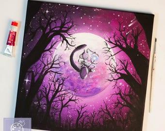 Mewtwo Dark moon Pokemon painting