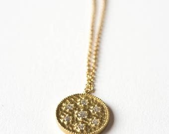 Necklace on chain and fine gold plated hammered silver medal