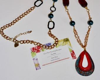 Art Glass Open Teardrop Pendant Necklace