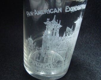 1901 Pan American Exposition Buffalo NY Whiskey drinking Glass Souvenir, Electricity Building