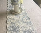 Quilted Scallop Table Runner in Toile De Jouy// Quilted Table Runner// Quilted Scallop Table Runner// Reversible Blue and White Table Runner