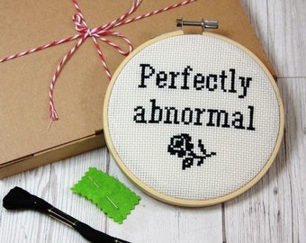 Perfectly abnormal Modern cross stitch KIT- easy design pattern beginners guide funny quote rude decoration DIY embroidery kit unique gift