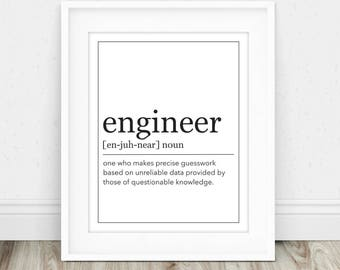 Engineer Definition - Engineer Gift, Gift for Engineer, Definition Print, Funny Engineer Gift, Engineering Gift, Definition Prints