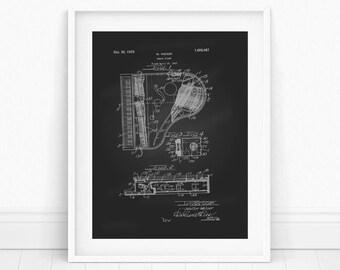 Piano Patent Poster - Piano Wall Art, Piano Teacher Gift, Patent Print, Patent Poster, Piano Blueprint, Music Poster, Patent Wall Art