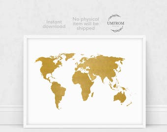 Gold World Map Print, Gold Map Print, White and Gold World Map, World Map Wall Art, Large World Map, World Map Poster, World Map Art
